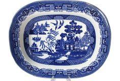 Buffalo Pottery Blue Willow Platter 1909