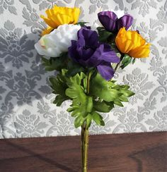 Anemone Bouquet With 9 Yellow and Purple and White Flowers