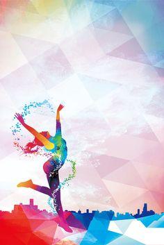 Creative Dancing Sports Poster Design – Wallpaper World Creative Poster Design, Creative Posters, Design Art, Design Ideas, Art Aquarelle, Art Watercolor, Dance Background, Background Images, Beauty Background