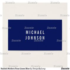 Shop Stylish Modern Faux Linen Blue Business Card created by DesignByLang. Office Essentials, Business Cards, Things To Come, Cards Against Humanity, Stylish, Modern, Prints, How To Make, Blue