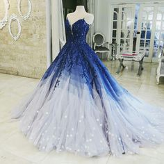 Buy Ombre Ball Gown Royal Blue Prom Dresses With Appliques, Long V Neck Quinceanera Dresses online.Shop short long ombre prom, homecoming, bridesmaid evening dresses at Couture Candy Cocktail party dresses, formal ball gowns in ombre colors. Royal Blue Prom Dresses, Cute Prom Dresses, Quince Dresses, Pretty Dresses, Formal Dresses, Bride Dresses, Elegant Dresses, Dresses Dresses, Casual Dresses
