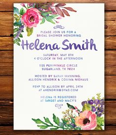 Watercolor Floral Bridal Shower Invite Printable or Professionally Printed Cards by Shaileyann on Etsy