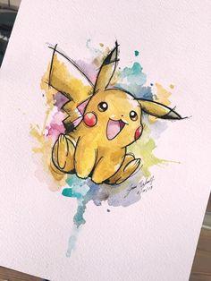 Watercolour Art With Pikachu! Art Drawings Sketches, Disney Drawings, Animal Drawings, Cute Drawings, Zombie Drawings, Pokemon Tattoo, Pikachu Pikachu, Javi Wolf, Pikachu Drawing