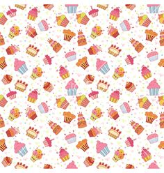 Cute seamless pattern with cupcakes birthday party vector - by saenal78 on VectorStock®