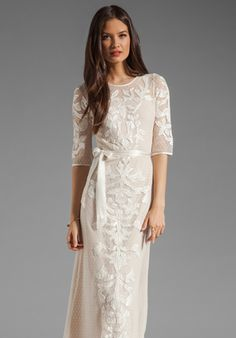 would make an amazing wedding dress!!! ALICE BY TEMPERLEY Long Floria Dress in Champagne Mix at Revolve Clothing - Free Shipping!
