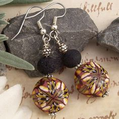 Earrings with Handmade Polymer Clay Lentil Beads by cag_crafts, via Flickr