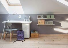 Teen bedroom workspace | Attic room | Grey | Wooden floors