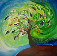 Green Tree Canvas Nature Hebrew Old by ronitshwartz on Etsy, $70.00
