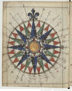 Resultado de imagem para Rose of the Winds. G. Brouscon, Manuel de pilotage à l'usage des pilotes bretons, 1548. BNF, Ms, F. 25374, f. 14 v.