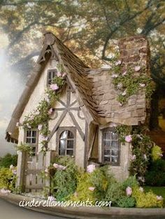 Cinderella Moments: Miss Read's English Cottage. Or could it be a Fairy House? Little Cottages, Cabins And Cottages, Little Houses, Country Cottages, Small Cottages, Storybook Homes, Storybook Cottage, Witch Cottage, Cute Cottage