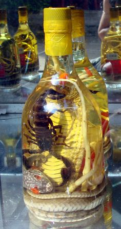 Snake is one of Vietnamese varieties of rượu thuốc. The bottle on the left is a cobra wine (Rượu rắn); this one with extra scorpion