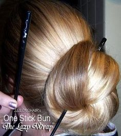 so addicted to hair stick buns, long hair like this looks so elegant. - New Ideas Bun Hairstyles For Long Hair, Permed Hairstyles, Twist Hairstyles, Beautiful Long Hair, Beautiful Buns, Amazing Hair, Super Long Hair, Big Hair, Geisha Hair