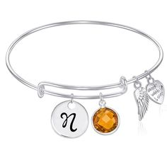 Initial Expandable Wire Bangle Bracelet with November Charm GIFT BOXED *** Click image to review more details.