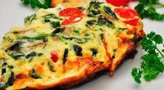 Low Carb Rezept für eine Low-Carb Spinat-Feta Frittata. Wenig Kohlenhydrate und einfach zum Nachkochen. Super für Diät/zum Abnehmen.
