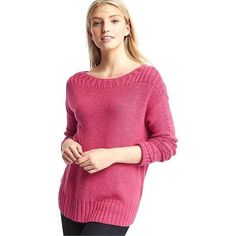 Gap Women Chunky Pointelle Sweater ($50) ❤ liked on Polyvore featuring tops, sweaters, jellybean pink, regular, long sleeve knit tops, pink knit top, gap tops, chunky sweater and pink sweater
