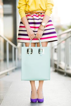Color Journey: Striped Skirt & Pastel Structured Tote, via Wendy's Lookbook. MSGM skirt, Christian Louboutin shoes and Sophie Hulme tote.