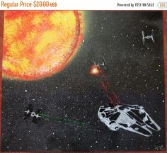 ON SALE star wars painting star wars wall art poster kids room decor gifts by FloralFantasyDreams Kids Room Art, Boys Room Decor, Art For Kids, Star Wars Room Decor, Star Wars Wall Art, Gloss Spray Paint, Spray Painting, Star Wars Painting, Superhero Wall Art