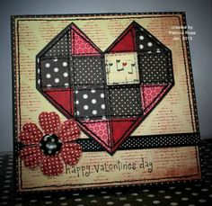 handmade card ///  Happy Valentine's Day by kokirose... quilt block heart ... red, black and cream with aging ... machine stitching on the heart ...  luv it!