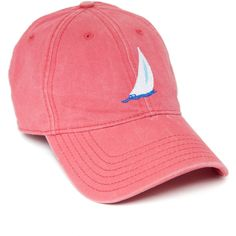 Peach Sloop Needlepoint Hat ($10) ❤ liked on Polyvore featuring accessories, hats, beach hat and stitch hat