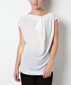 Loving this CQ White Drape Cap-Sleeve Top on #zulily! #zulilyfinds