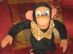 1960'S MATTEL TALKING CHESTER O'CHIMP PULL STRING DOLL , TALKS!! CLEAN!!