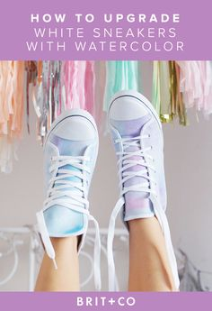 DIY Shoe Makeovers - Watercolor Sneakers - Cool Ways to Update, Decorate, Paint, Bedazle and Add Sparkle to Your Flats, Pumps, Tennis Shoes, Boots and Boring Shoes - Cool Crafts and DIY Shoe Ideas for Teens and Adults http://diyprojectsforteens.com/diy-shoe-makeovers
