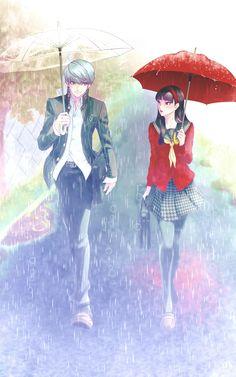 Yu and Yukiko under the rain! Persona 4
