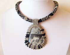 Beadwork Bead Embroidery Pendant Necklace with Black Veins Web Jasper  - EVENING LEGEND - mate black and grey