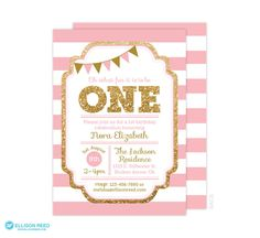 1st Birthday Invitation, Pink and Gold invitation, Gold Glitter Invitation, Girl Birthday Invitation, Printable invite, Kids birthday invite by EllisonReed on Etsy https://www.etsy.com/listing/222329731/1st-birthday-invitation-pink-and-gold