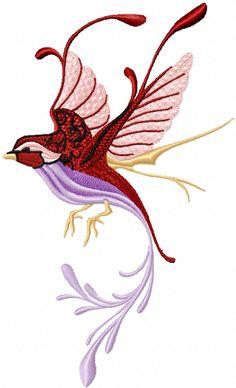 Fantastic bird machine embroidery design for fashion dress decoration.