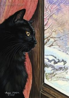 Black Cat - Winter Wonderland by Anne Marsh I Love Cats, Crazy Cats, Cool Cats, Black Cat Art, Black Cats, Acrylic Painting Inspiration, Winter Cat, Illustration Art, Illustrations