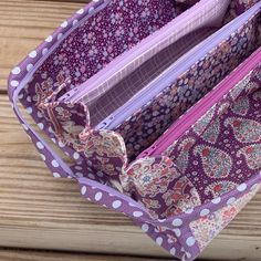 Plum Garden in all its plum-ness! I am loving this so much. 💜💜💜 Sample available Plum Garden, Quilted Cake, Sew Together Bag, Coin Purse, Photo And Video, Pouches, Baskets, Bags, Zip