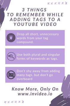 Tags are one of the key features of online content that help you gain enough click-through rates (CTR) to be noticed. Whether you are a business owner or a vlogger, there is no point in making videos if they won't get any views. Visit the InVideo Blog and learn more! Youtube Tags, You Youtube, Learn Portuguese, Youtube Search, 12th Book, Make A Video, You Videos, Video Editing, Gain