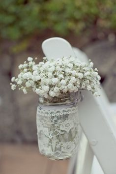 white wedding ceremony flower idea