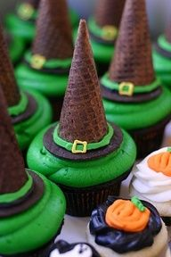 Witch hat cupcakes.  Chocolate cake mix, green icing--chocolate waffle cone decorate with icing to look like hat.