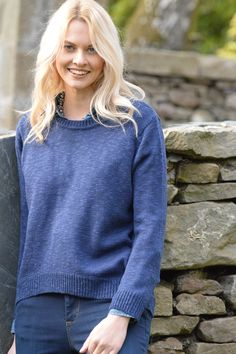 Happy Kinda Life - Grab and go crew neck jumper in cosy cotton blend, no winter wardrobe should be without one. On-season shaped hem. Easy to wear with anything, dress it up or down, buy one in each colour, they're that good!