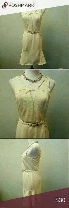  Cream belted dress (ONLY S LEFT) Cream sleeveless dress with belt that can be removed. the bottom of the skirt flares out on the sides Chupchick Dresses Midi