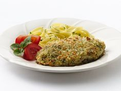 Pesto Parmesan Chicken  Made this tonight paired with linguini covered with garlic butter sauce and it was one of the best meals I have ever made!