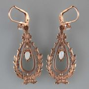 925er Silber hell rotvergoldet Jugendstil-Ohrringe mit Opalen