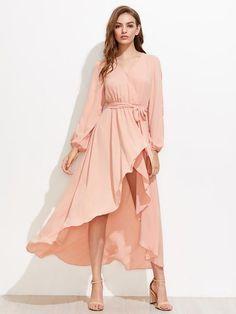 Plain Pink V-Neck Long Sleeve Split Sleeve Surplice Wrap Maxi Dress