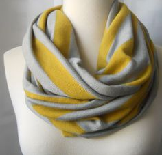 Gold and Gray striped infinity scarf.