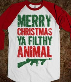 Merry Christmas Ya Filthy Animal (Baseball) - Fun Movie Shirts - Skreened T-shirts, Organic Shirts, Hoodies, Kids Tees, Baby One-Pieces and Tote Bags
