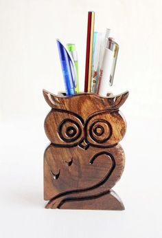 Carved Owl Pencil Holder Office Wood Pen by LittleWoodCottage