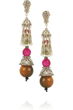 Etro | Gold-plated resin and crystal clip earrings | NET-A-PORTER.COM