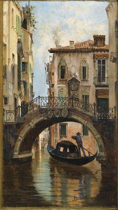 Antonietta Brandeis - Le Pont de L'anzolo à Venise (The Anzolo bridge in Venice)