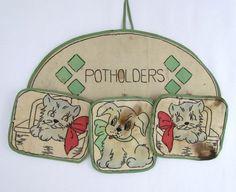 vintage potholder set