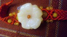 For sale at Retrophoria.com, $9.99 - Gorgeous genuine Jade Floral crocheted bracelet