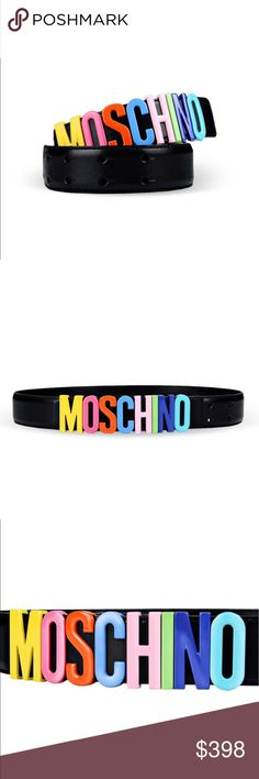 Moschino rainbow logo belt Brand New. Rainbow Color enameled metal Letter Slides on black leather belt. All letters are Solid colored metal. Standard Thick Size Logo Belt (1.5 inches thick). Trendy and special and eye catching. Size 38 (US Size 4). Made in Italy. Moschino Accessories Belts