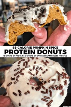 Pumpkin Spice Protein Donuts: A High Protein Donut Recipe Need a high protein sweets fix or healthy snack? The pumpkin spice donuts are super easy to make and have 95 calories, 13 grams of protein, and 2 Smart Points each. Donuts Vegan, Protein Donuts, Healthy Protein Snacks, Protein Desserts, Protein Foods, Healthy Desserts, Protein Cake, Protein Muffins, Protein Cookies