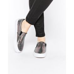 Vans Gunmetal Classic Slip On Trainers ($78) ❤ liked on Polyvore featuring shoes, sneakers, silver, stretch shoes, slip on sneakers, metallic shoes, round cap and round toe shoes